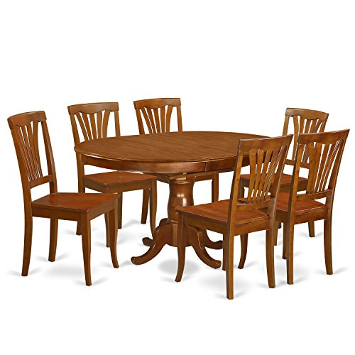 East West Furniture POAV7-SBR-W 7 Piece Kitchen Dinette Table and 6 Chairs