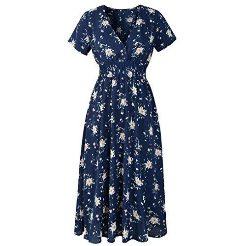 gaddrt Damen V-Ausschnitt Urlaub Blumendruck Kleid Damen Sommer Beach Party Dress UQwqX