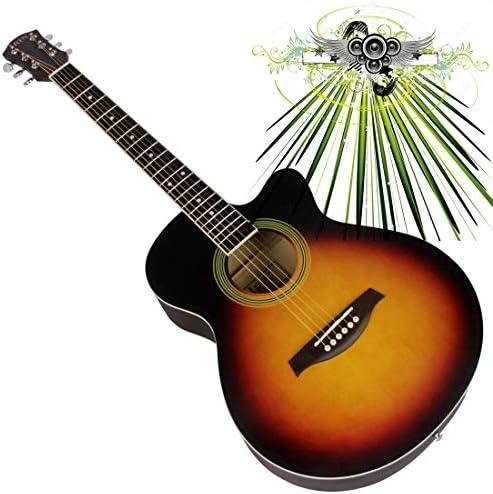 40 Inch Acoustic Guitar Travel Guitar Wooden Girl Children Folk Guitar Beginner Performance Soprano Starter Kit Instrument for Beginner/Children/Kids/Starter