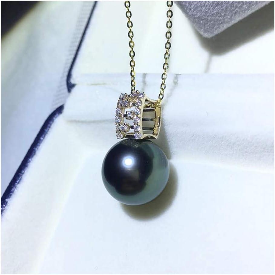 Genuino Perlas De Tahití Colgante 9-10MM Negro Perla Oro De 18 Quilates Colgante para Mujeres con Plata De Ley 925 Cadena Collar