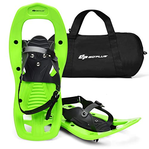 "Goplus 17-inch Snowshoes for Men Women Youth Kids, Anti Slip Lightweight Snowshoes with Adjustable Ratchet Bindings, Hard Rack Grip Teeth & Free Carrying Tote Bag, Green (17"")"