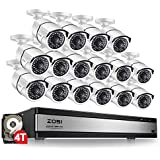 ZOSI 1080p 16 Channel Video Surveillance System,16 Channel DVR 4TB (Hard Drive)1080p Hybrid Recorder and 16 Outdoor/Indoor CCTV Bullet Camera 1080p with 100ft Long Night Vision and 105°Wide Angle