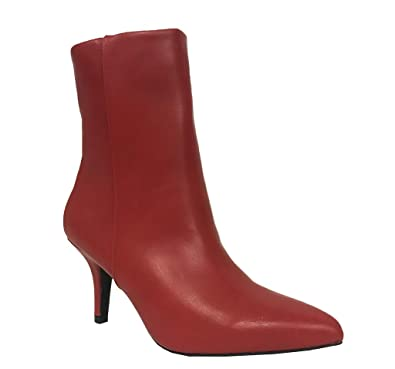 PORTIA 5! Qupid Women's Sexy Pointed Toe Stiletto Mid Heel Ankle Boots