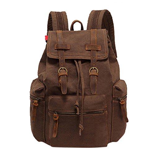 Zantec Männer Modische Canvas Doppel Schulter Rücksack Computer Tasche Große Kapazität Reisen Casual Bag braun J8MC9arybL