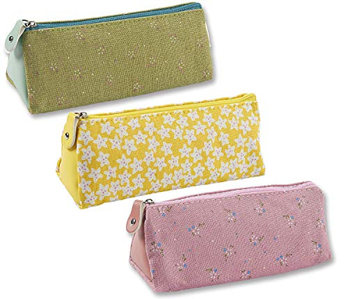 Pencil Bags- Set of 3 Pencil Pouch Organizers for Home and Office, Ideal for Students, Travel Cosmetic Makeup Bag for Women, Flower Designs, 7.25 x 2.75 x 3 Inches