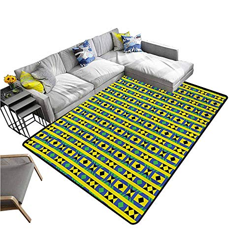 Funky Borders - Floor Mat Home Decoration Supplies Kente Pattern,Geometric Vertical Borders Funky Colorful Native Kenya Design with Triangles,Multicolor 36