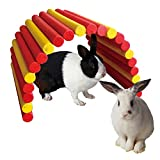 B&P Color Fiddle Sticks Hideout,21.65x11.02x0.98'' Large folding Wood fence ladder Bridge for rabbits, ferrets, guinea pigs, Chinchilla and other small animals cage accessories (Red+Yellow, XXL)