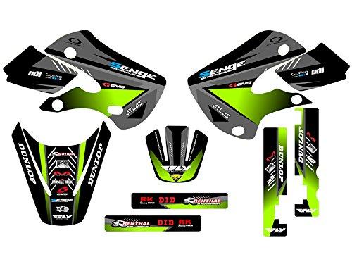 (Senge Graphics kit compatible with Kawasaki 2002-2009 KLX 110, Surge Black Graphics Kit)