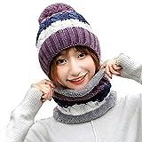 BSGSH Winter Beanie Hat Scarf Set Warm Knit Hat Pom Pom Skull Cap for Men Women (Purple)