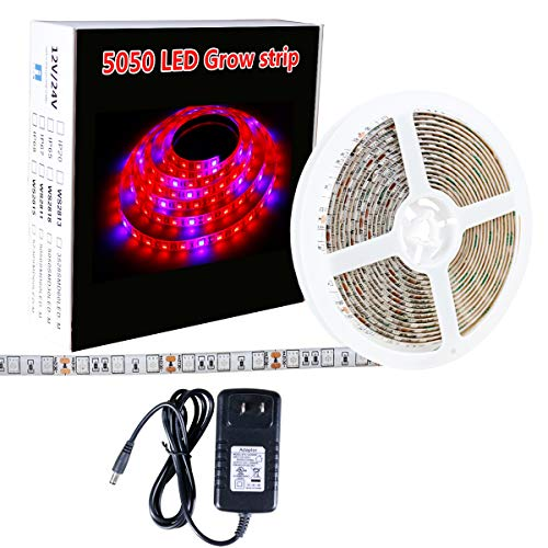 SPARKE LED Plant Grow Light Strip Kit,16.4ft/5m 5050 Waterproof Full Spectrum Red Blue 4:1 DC12V Growing Lamp with UL Listed 3A Power Adapter for Aquarium Greenhouse Hydroponic Flowers Seeds Growth