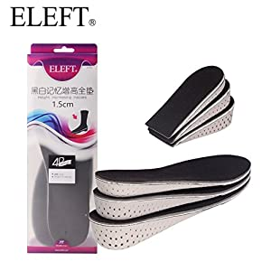 ELEFT In-Sock Invisible Height Increase Full Length Insoles, Memory Foam Insoles for Shock Absorption, Lift Heel, Best Elevator Insoles for Men and Women 1.5cm up
