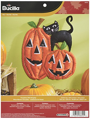 Bucilla Felt Applique Wall Hanging Kit, 13.5 by 15.5-Inch, 86692 Pumpkins
