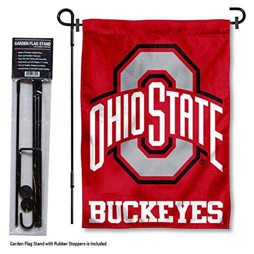 Ohio State Buckeyes Garden Flag with Stand Holder