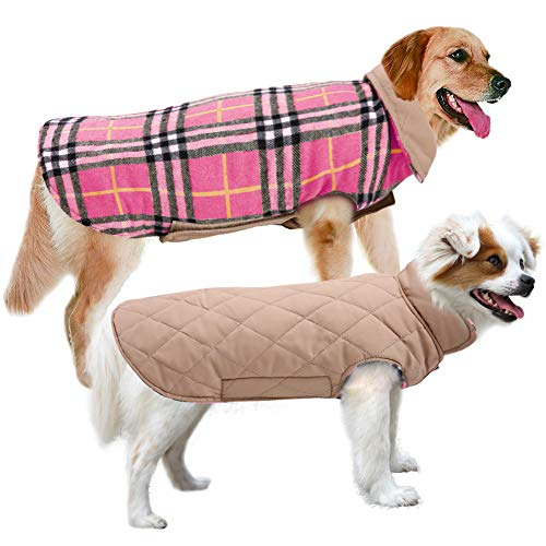 MIGOHI Dog Jackets for Winter Windproof Waterproof Reversible Dog Coat for Cold Weather British Style Plaid Warm Dog Vest for Small Medium Large Dogs Pink M