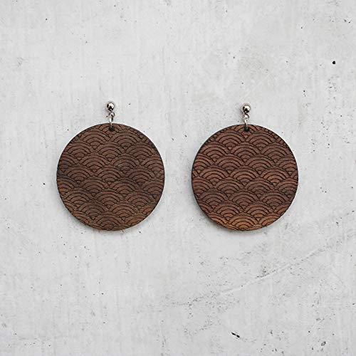 Walnut Disc Dangle Earrings Wave Pattern