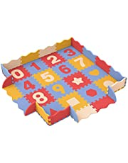 Bammax Puzzle Tapis Mousse Bébé, 16 Pièces avec 16 Barrières et 4 Coins, Tapis de Jeu en Mousse EVA,Chiffre de 0 à 9,Imperméable, Non Toxique, sans BPA