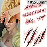 Glamorway 50pcs Halloween Zombie Scars Tattoos With Fake Scab Blood Special Costume Makeup Halloween Decoration