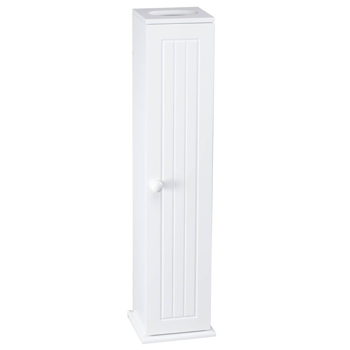 """OakRidge Miles Kimball White Compact Toilet Tissue Storage Tower with 4 Shelves, 5.5"""" W x 27"""" H x 6.75"""" L – Holds Toilet Paper Rolls Up to 4.25"""" Diameter, Top Slot Provides Access to Facial Tissues"""