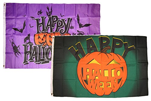 ALBATROS 3 ft x 5 ft Happy Halloween 2 Pack Flag Set Combo #24 Banner Grommets for Home and Parades, Official Party, All Weather Indoors Outdoors]()