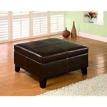 Amazon Com Coaster Casual Dark Brown Faux Leather Square