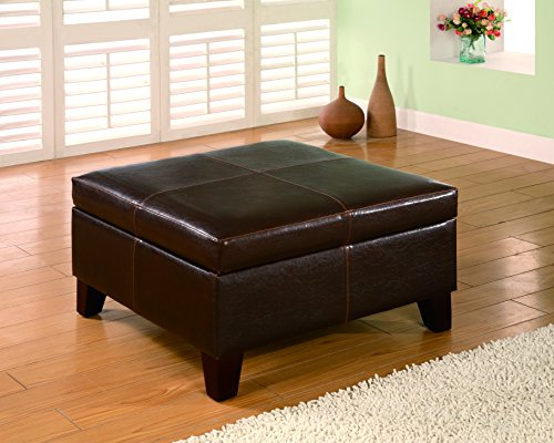 Ottoman Dark Leather Brown (Coaster Home Furnishings Square Storage Ottoman Brown)