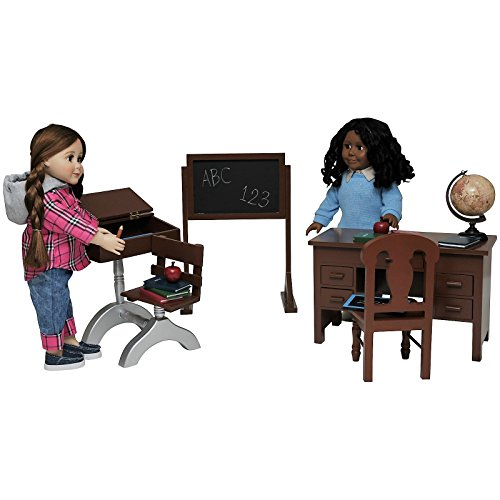 The Queen's Treasures Teacher & Student American Classroom Desks Plus School Books, Chalkboard, Pencil, Globe and More. Furniture & Accessories for 18''Dolls by The Queen's Treasures