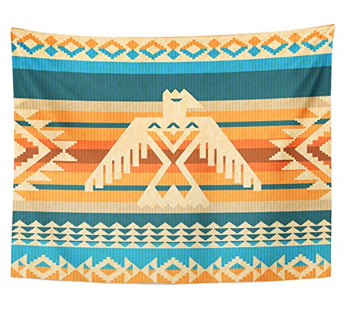 Emvency Tapestry Polyester Fabric Print Home Decor Thunderbird Navajo Style Abstract with Eagle and Traditional Geometric Motifs Wall Hanging Tapestry for Living Room Bedroom Dorm 60x80 inches