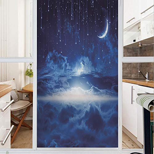 Decorative Window Film,No Glue Frosted Privacy Film,Stained Glass Door Film,Heavenly Majestic Galaxy View Falling Stars Celestial Magical Cosmos Decorative,for Home & Office,23.6In. by 35.4In Navy Blu