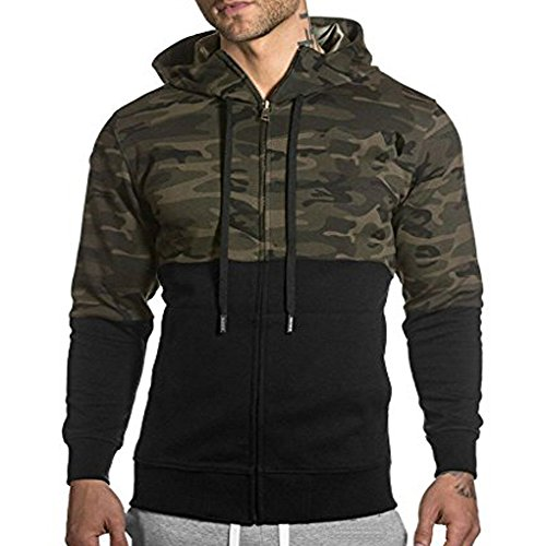 Men's Gym Workout Hoodie Jacket Fitted Training Bodybuilding Running Active Sweatshirts With Zipper Pockets Camouflage XS Tag M by EVERWORTH
