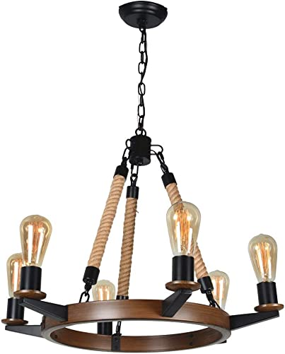 Baiwaiz Round Rustic Vintage Chandelier, Farmhous Dining Room Chandelier Lighting in Faux Painted Brown Finish Hemp Rope Country Pendant Light 6 Light Edison E26 085B