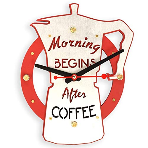 (Morning begins after coffee HANDCRAFTED wooden wall clock home decor kitchen bar restaurant coffee shop wall)
