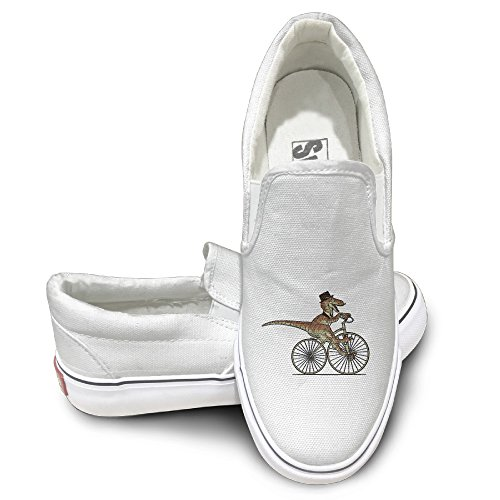 GD Ride Bike Mr. Raptor Oxford Unisex Flat Canvas Shoes Sneaker 44 White