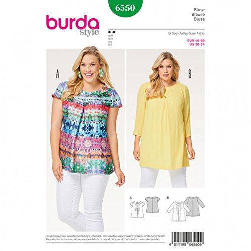 Burda Ladies Easy Plus Size Sewing Pattern 6550 Pleated Blouse Tops