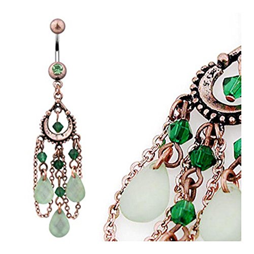 Vintage Navel Ring w/ Peridot Beads and Jade Color Light Green Aventurine Dangles (Sold Ind.) (Bioplast Green Gemstones)