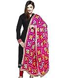 Weavers Villa® Punjabi Hand Embroidery Phulkari Faux Chiffon Pink Dupatta, Stoles