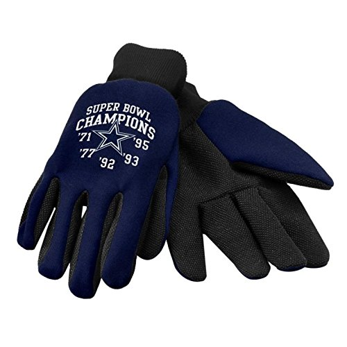 NFL Football Super Bowl Commemorative Team Logo Utility Work Gloves (Dallas Cowboys) Forever Collectibles