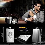 VERISA 8 oz Stainless Steel Russian Hip / Nip Flask for your Vodka warmer / Funnel and cups