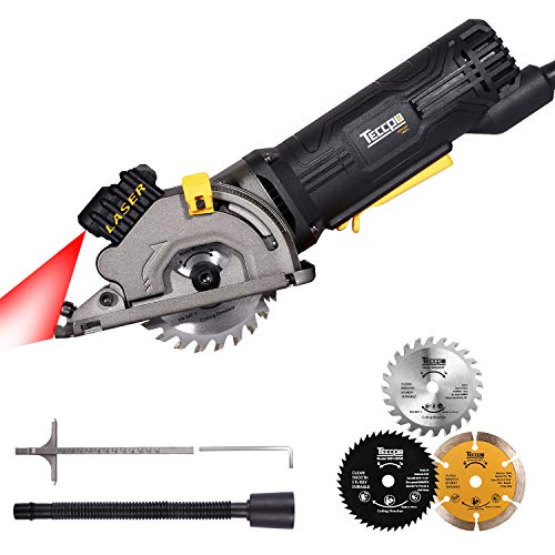 Circular Saw, TECCPO Compact Circular Saw with Laser Guide, 3 Saw Blades, Scale Ruler and 4Amp Pure Copper Motor, Suitable for Wood, Tile, 3-1/3' 3500RPM Aluminum and Plastic Cuts - TAPS22P