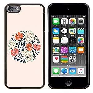 For Apple iPod Touch 6 6th Generation - Peach Floral Spring Card Gift /Modelo de la piel protectora de la cubierta del caso/ - Super Marley Shop -