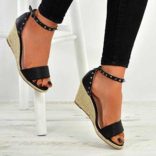 Shoes Sandals Rock Ladies Black Toe New Espadrille Studs Womens Wedge Peep Platforms aS7qwZvBx