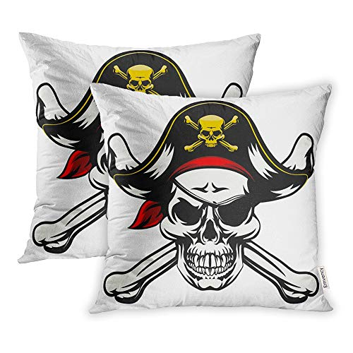 Emvency Set of 2 Throw Pillow Covers Print Polyester Zippered Skull and Crossbones Dressed in Pirate Costume Hat Eye Patch Pillowcase 18x18 Square Decor for Home Bed Couch Sofa -