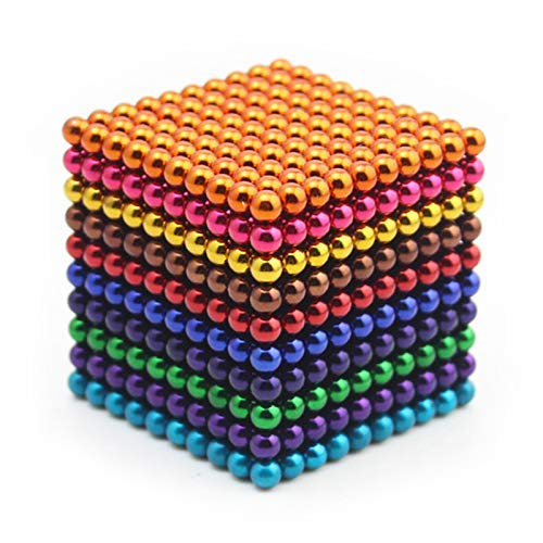 JunRP Magnetic Cube 1000Pcs 5mm Magnets Blocks Magnetic Square Cube Children's Puzzle Magic Cubes DIY Educational Toys for Kids Intelligence Development and Stress Relief - 10 Colors 01 ()