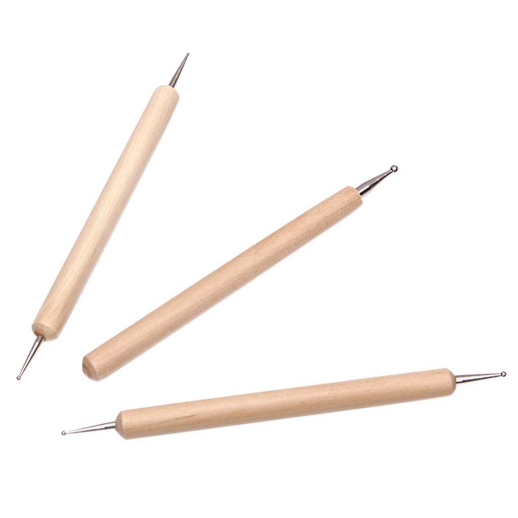 3Pcs Ball Styluses Tool Set for Embossing Pattern Clay Sculpting--For Making Large Dots, Smooth Lines in Clay or Emboss on Soft Metal or Paper SODIAL(R) ST-ZV259-ZX