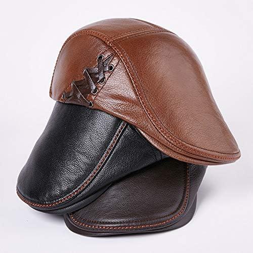 メンズヴィンテージベレー帽 男性のクラシック冬のレザー野球キャスケット帽耳フラップトラッパーハンチングハットヤングキャップ中年キャップ アウトドア 旅行 (Color : Brown, Size : L)