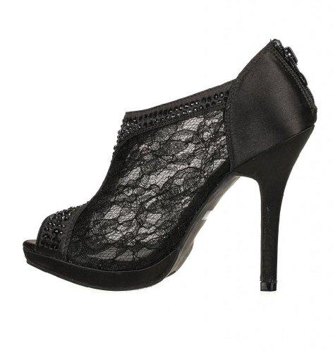 3d91af086c2818 Wedding   Bridesmaid Shoes Lace High Heel Rhinestone Peep Toe Shootie YAEL-9  new