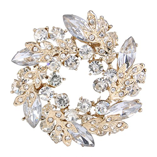 EVER FAITH Austrian Crystal Wedding Flower Wreath Brooch Pin Clear Gold-Tone