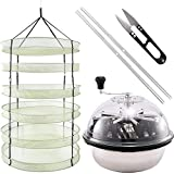 iPower GLTRIMBOWL16MDRYRD3L6 16-Inch Leaf Bowl Trimmer Twisted Spin Cut for Plant Bud and 3 Feet Diameter with 6 Layers Clip on Hanging Herb Drying Rack Net