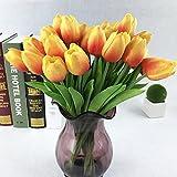 Montout 12PCS/Set PU Stunning Holland Tulip Flower Real Touch Artificial Silk Flowers Arrangement Bouquet Home Room Office Wedding Party Decor (Orange)