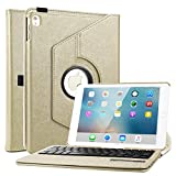Boriyuan iPad Pro 9.7 Keyboard Case, PU Leather 360 Degree Rotating Folio Flip Stand Cover with Detachable Wireless Bluetooth Keyboard for Apple iPad Pro 9.7 inch 2016 Release, Gold