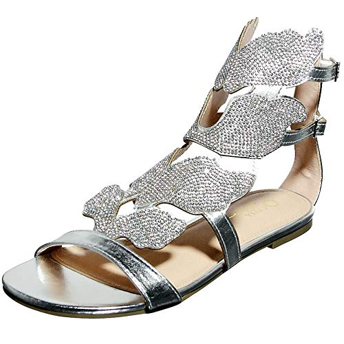 Women's Open Toe Strappy Gladiator Roman Rhinestone Covered Leaf Flame Wings Comfort Ankle Flat Sandal Shoes (9, Silver)
